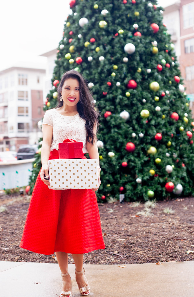 cute & little blog | lace crochet top, red pleated midi skirt, nude bow pumps | holiday outfit