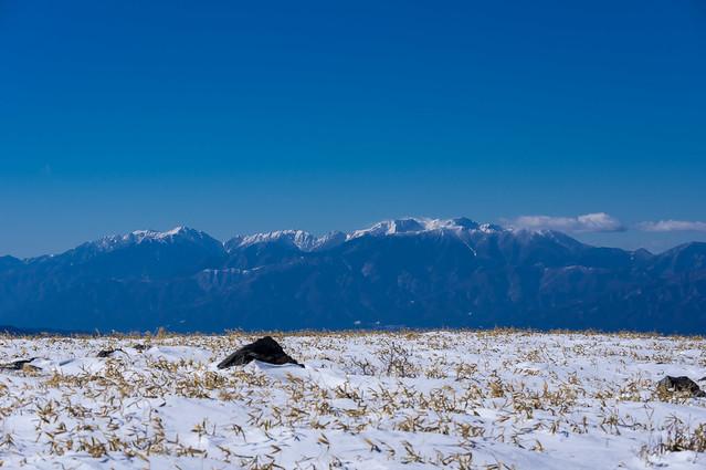 中央アルプスの主峰の雲が払われた