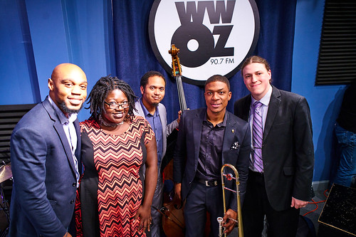 WWOZ's Pearl Ricks with the David Harris Quartet at WWOZ. Photo by Eli Mergel