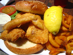 fried prawn(0.0), fish(0.0), seafood(0.0), chicken fingers(0.0), onion ring(0.0), produce(0.0), french fries(0.0), meal(1.0), junk food(1.0), frying(1.0), deep frying(1.0), fish and chips(1.0), fried food(1.0), side dish(1.0), schnitzel(1.0), food(1.0), dish(1.0), cuisine(1.0), fast food(1.0),