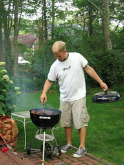 Sully is grilling