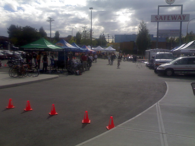 Setting Up for the Giro di Burnaby at the Safeway on Hastings and Willingdon