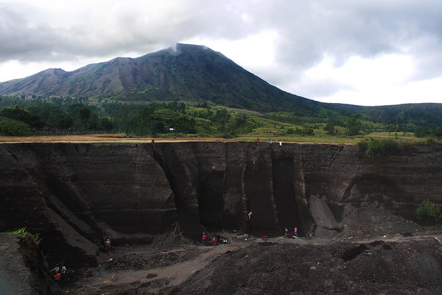 quarry at the foot of mt. batur a volcano in bali