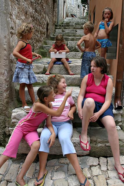 Children in the street of Rovinj