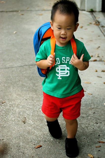 a child walks to school