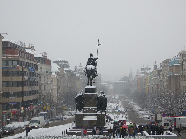 Wenceslas Square Snow