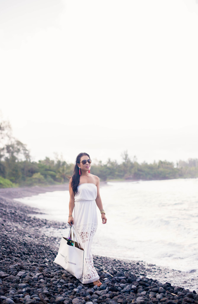 cute & little blog | petite fashion | white strapless crochet maxi dress | summer beach outfit