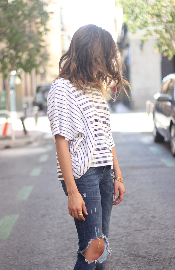 Casual Friday Jeans stripes top summer outfit13