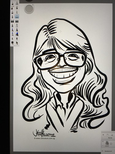Digital live caricature sketching for birthday party