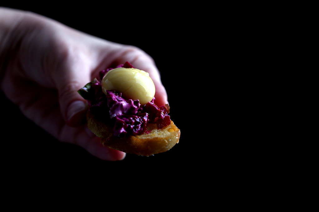 Beet Tartare with Mango Yolk