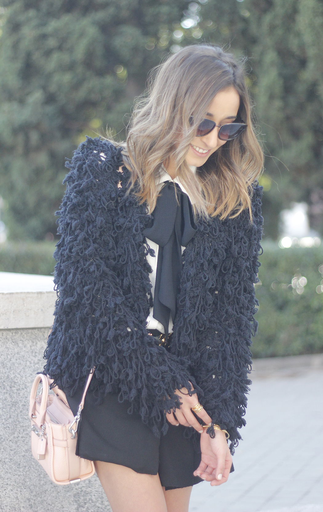 black jacket shirt with black bow coach pink bag heels outfit04