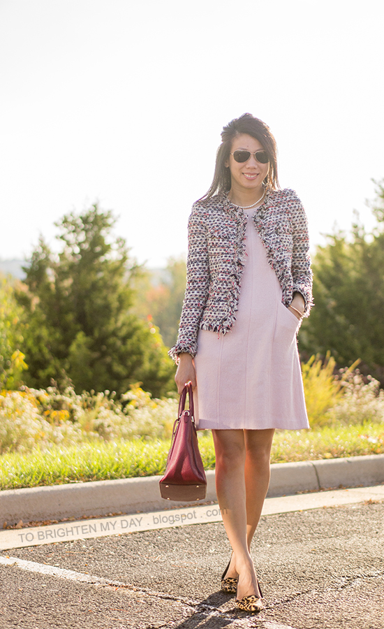 pearl necklace, tweed jacket, rose pink wool dress, red purple tote, leopard flats