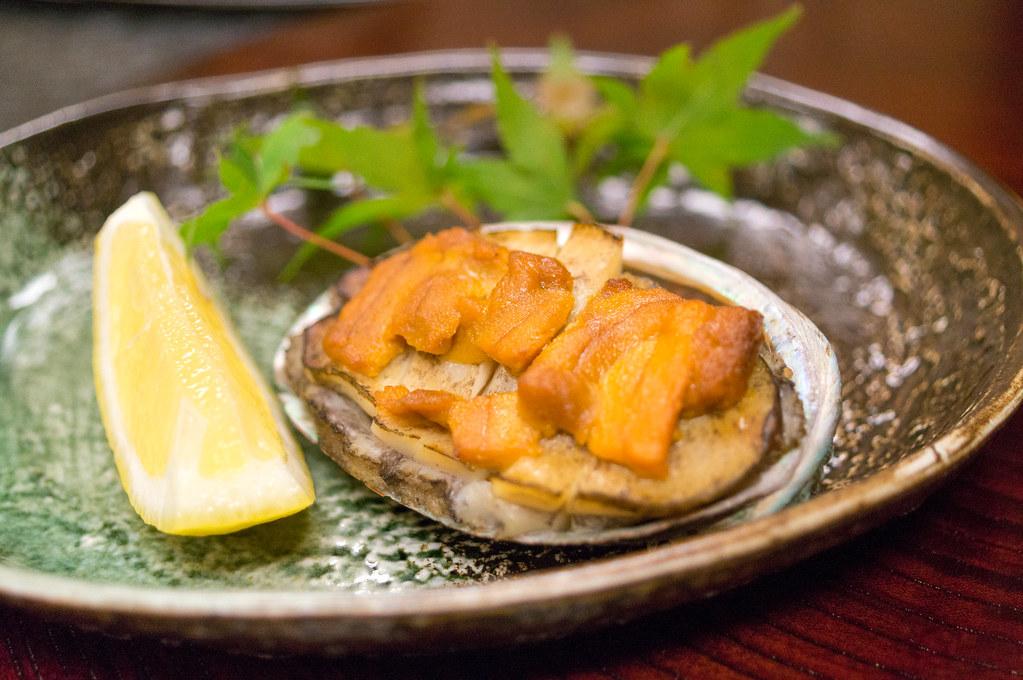 南山荘 紫乃、夕食、あわび うに焼き