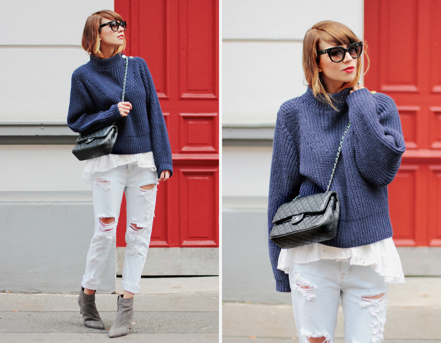 ootd outfit cozy winter female outfit boyfriend jeans lace chanel double flap knitwear blue red door styling fashionblogger cats & dogs modeblog ricarda schernus hannover düsseldorf berlin 2