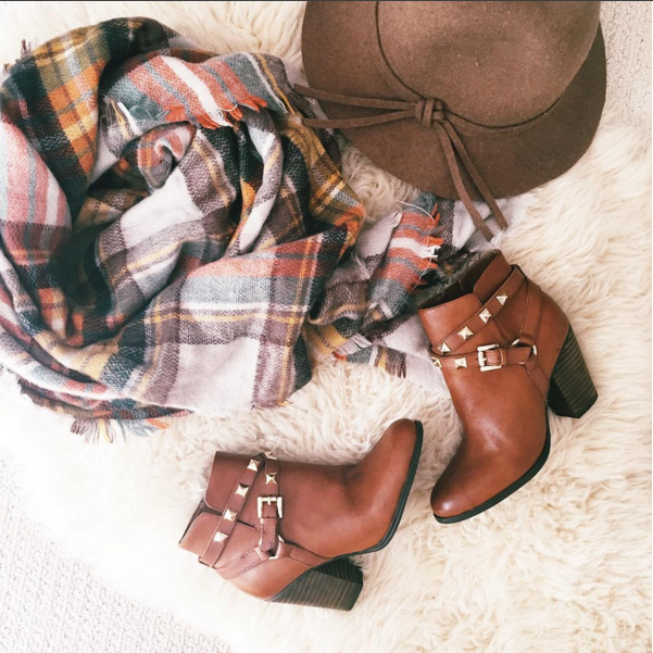 studded booties, scarf