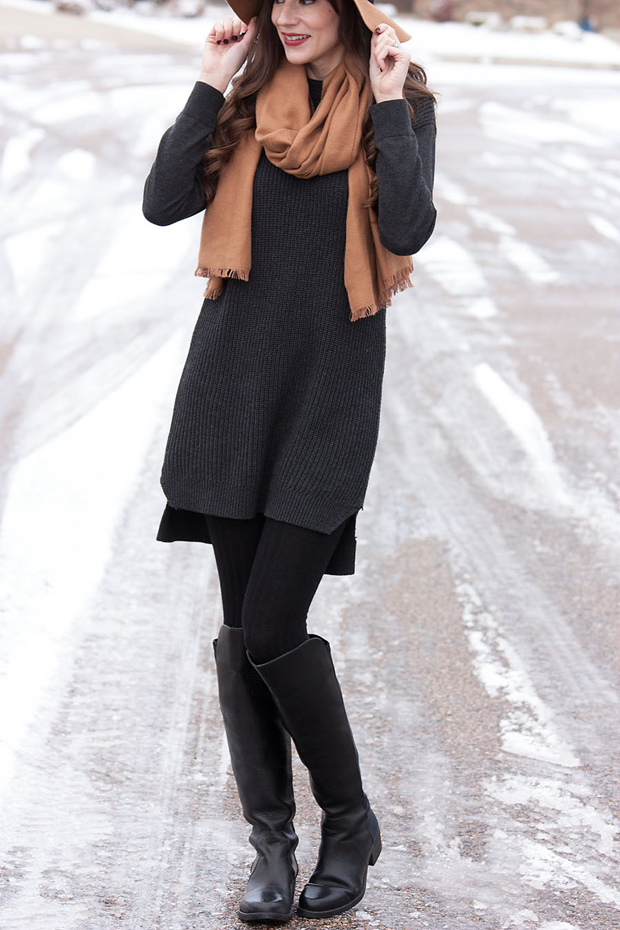 Tall Black Boots, Tunic Sweater, Neutral Winter Outfit