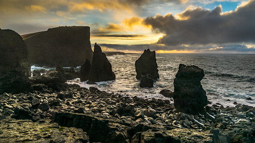 travel sunset sea sky urban orange cliff mountain seascape water rain weather clouds landscape geotagged photography is photo iceland rocks europe sony fullframe raining onsale a7 southernpeninsula sony2470 sonya7 sonyfe2470