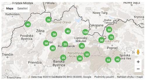 Mapa, kde se lyžuje na Slovensku