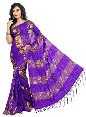 Glitter Fashion Purple Color Banarasi Silk Saree. Sarees on Shimply.com