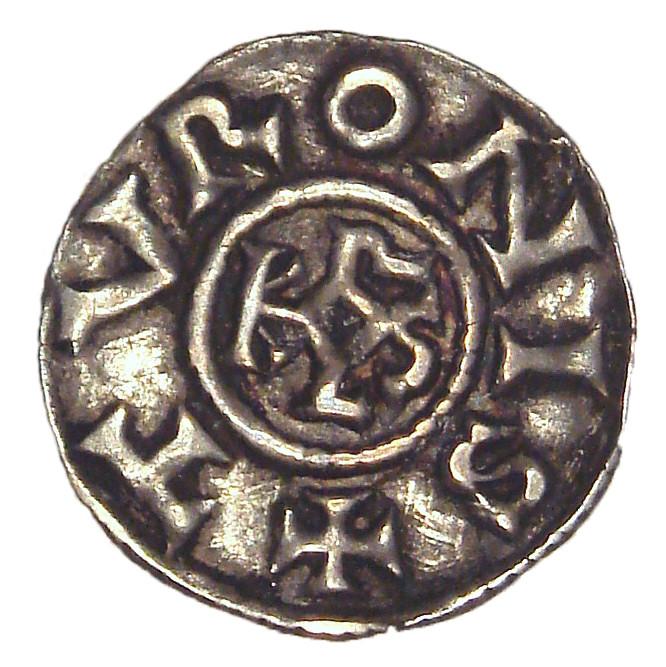 Charlemagne`s denier showing his monogram KAROLVS