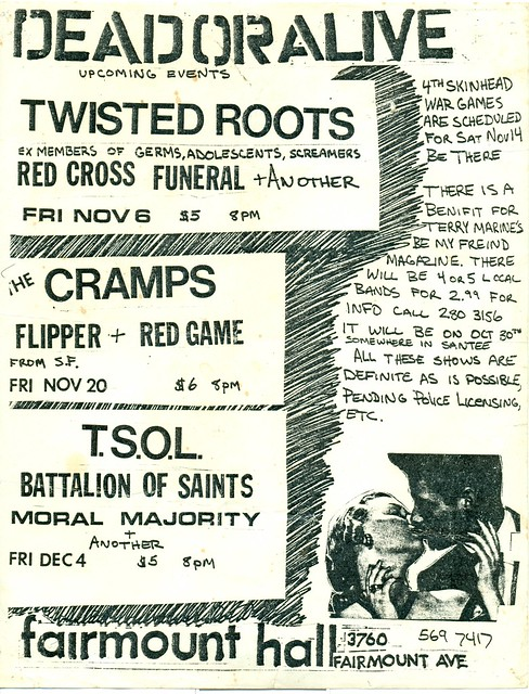Cramps, TSOL, Red Cross, Flipper, Battalion of Saints, Twisted Roots at Fairmount Hall 1981