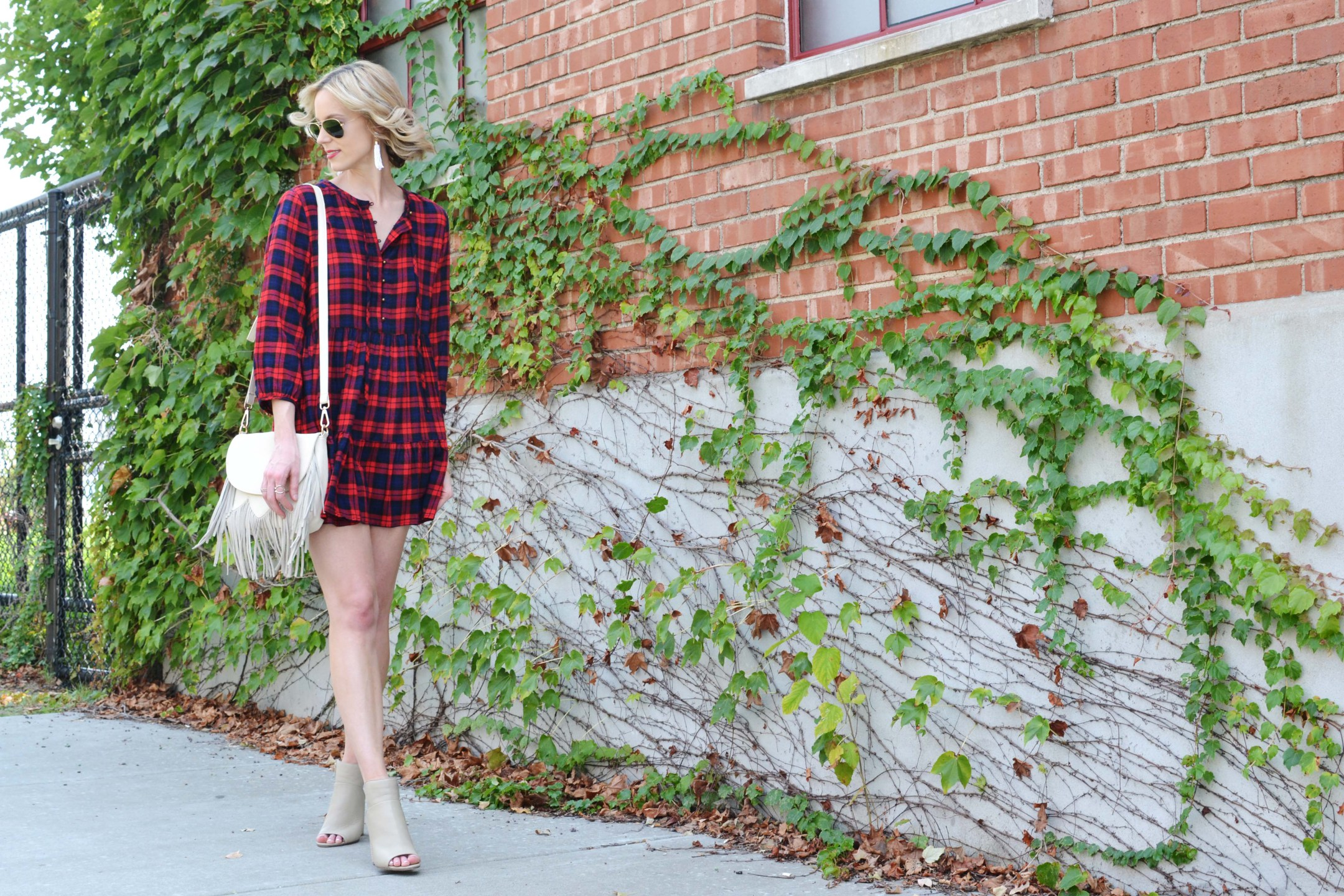 plaid-dress-booties-fringe-bag-aviators-tassel-earrings