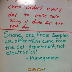 #JokeOfTheMoment #WalMart #EmployeeOfTheCentury #Shane #ThePlug #whiteboard #messege to the #deli #vigilante