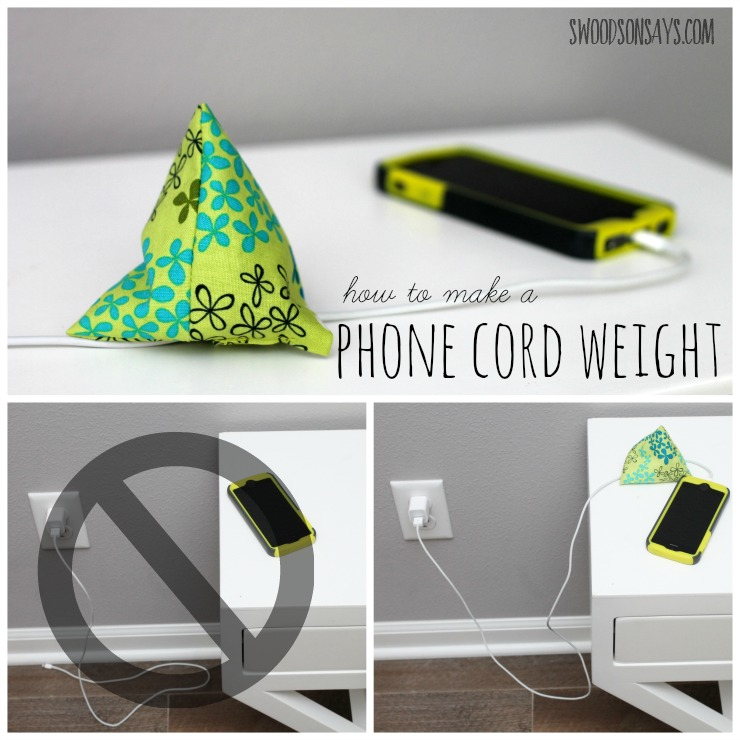How to make a phone cord weight - a simple sew, it keeps your phone's charging cord from falling down in the middle of the night. Perfect stocking stuffer! Swoodsonsays.com