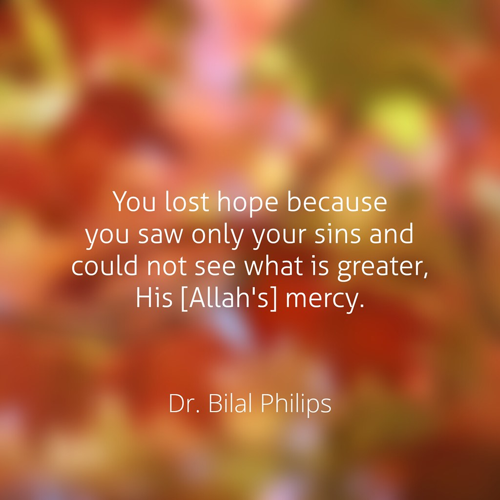 You lost hope because you saw only your sins and could not see what is greater, His [Allah's] mercy.  Dr. Bilal Philips