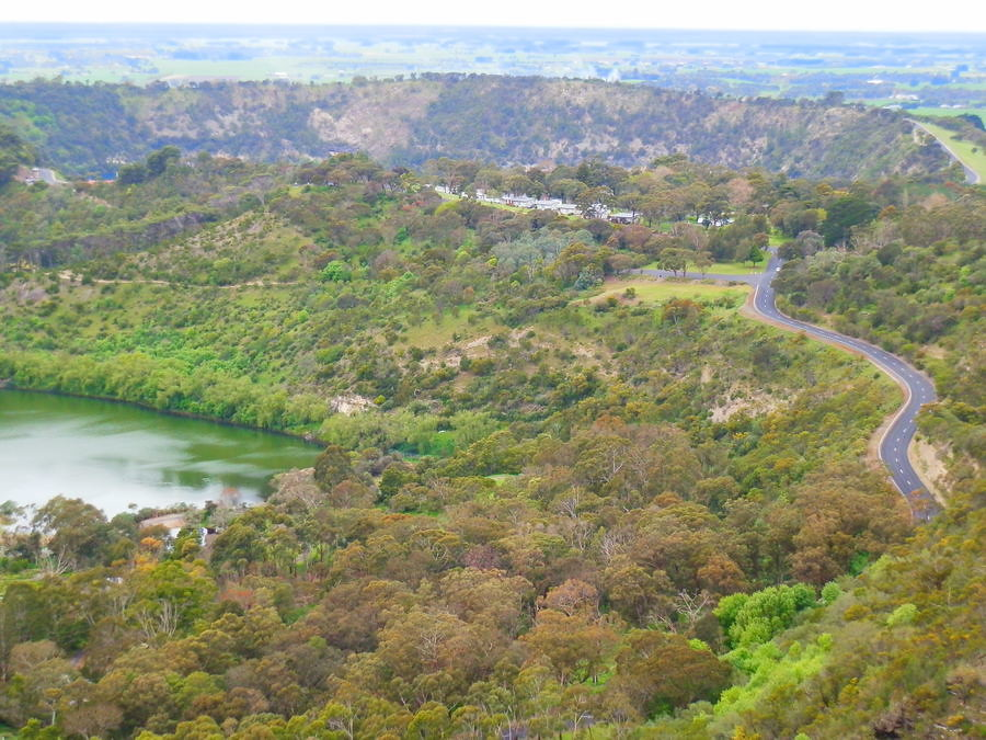 Valley Lake and Blue Lake Crater from Centenary Tower, Mount Gambier