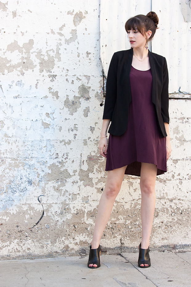 Everlane Silk Dress, Black Blazer, Date Night Outfit