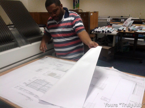 So excited to see our building plans printed out for real! :-)