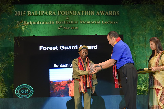 Sontush A. Sangma from Garo Hills receiving the 2015 Forest Guards Award from Mr. Sonam Wangchuk