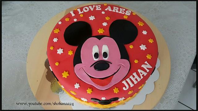 Mickey mouse cake / Birthday Cake / icing cake ( Shobana's Kitchen)....🇨🇭