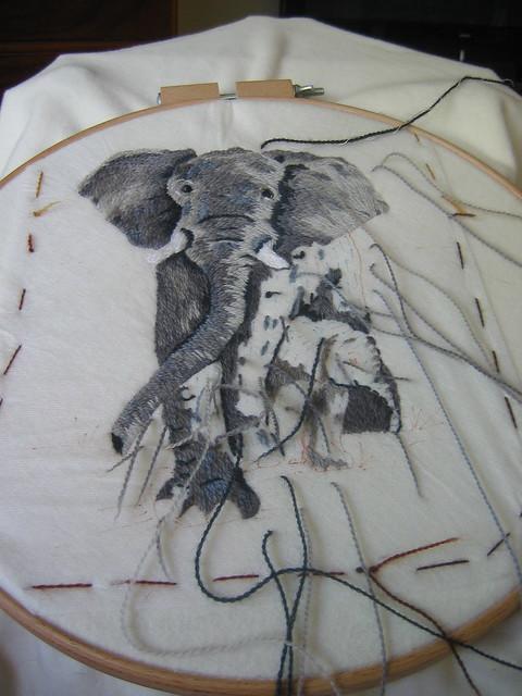 Threadpainting elephants