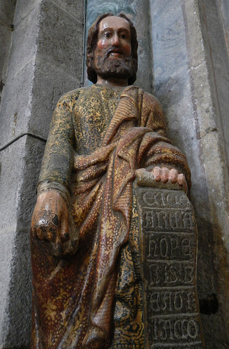 A saint in a corner of the cathedral in Santiago de Compostela