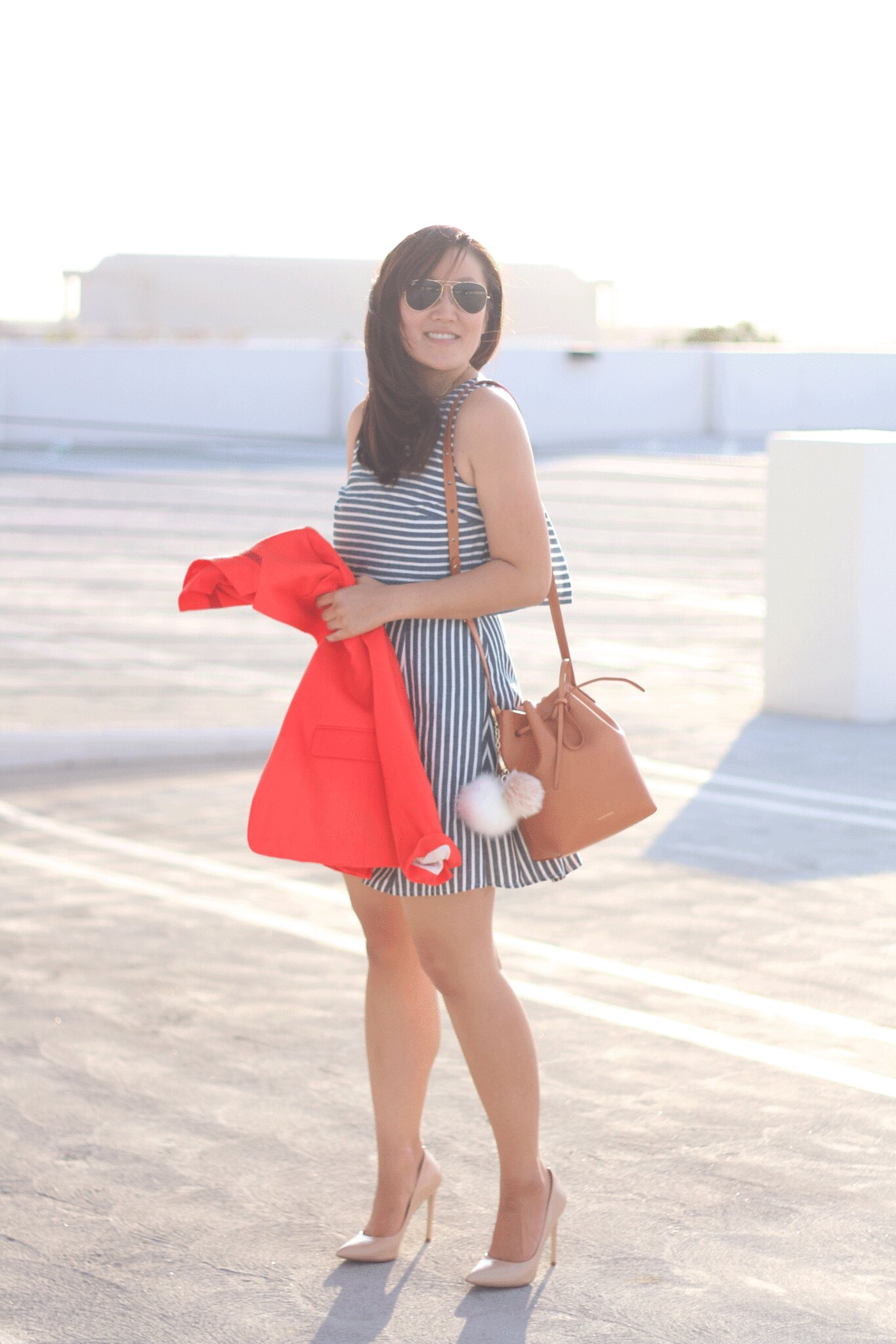 simplyxclassic, striped dress, blue stripe dress, orange blazer, jcrew, j.crew, blogger, style blogger, mommy blogger, mom fashion, 1.state dress, 1.state, mansur graviel, bucket bag, ootd, style, fashion, what to wear