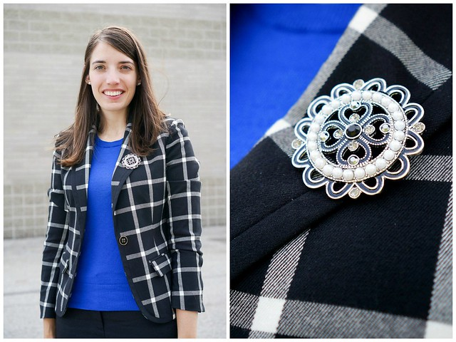 plaid blazer brooch