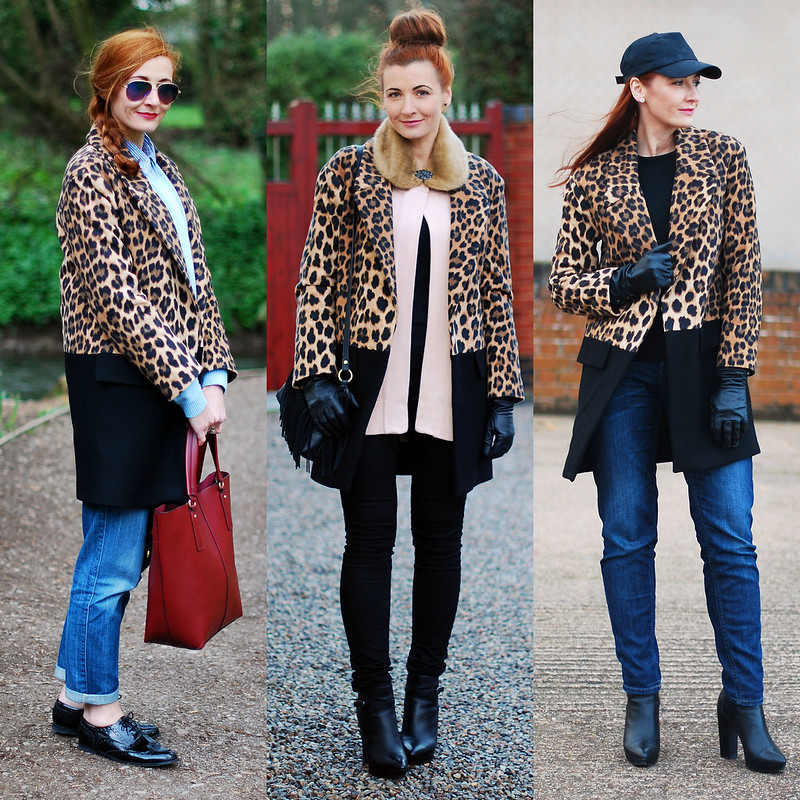3 ways to wear a black and leopard print car coat | Not Dressed As Lamb