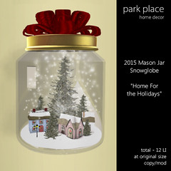[Park Place] Mason Jar Snowglobe Home For The Holidays