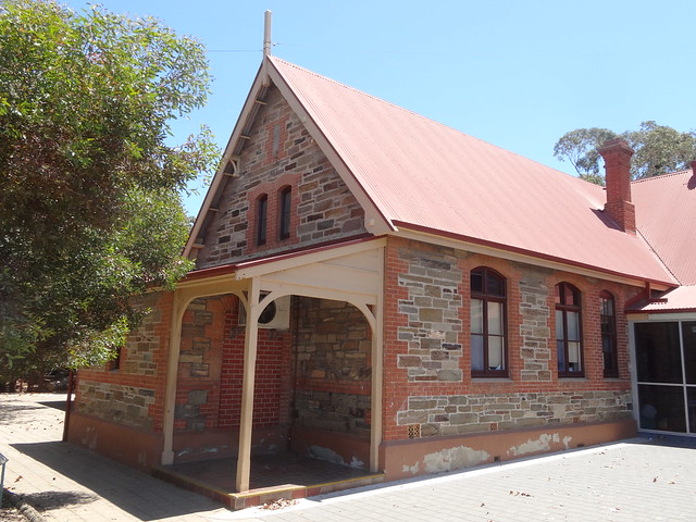 Plympton state school. A Central Board of Education School was built here in 1862. This is the 1881 bluestone Gothic