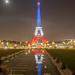 Eiffel Tower lit in colors of French flag #HDR