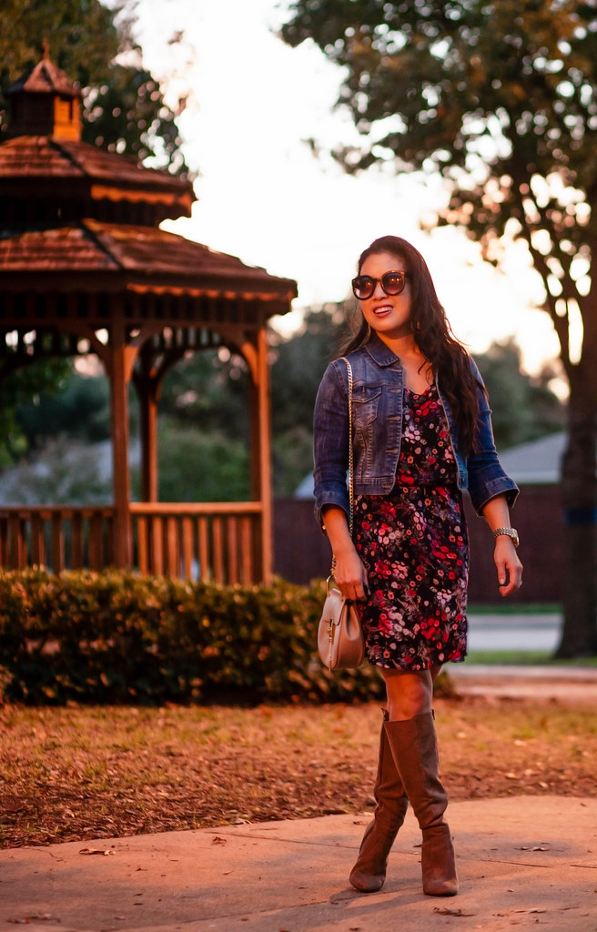 cute & little blog | petite fashion | denim jacket, wrangler floral dress, knee high suede boots | fall outfit