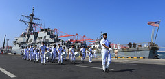 The Sri Lanka Navy Band marches away after performing to welcome USS Hopper (DDG 70) to Colombo, Jan. 19. (U.S. Embassy Colombo photo)