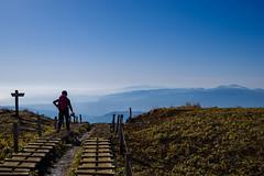 健脚の女性ハイカー(下山時)、、背後は箱根と天城山