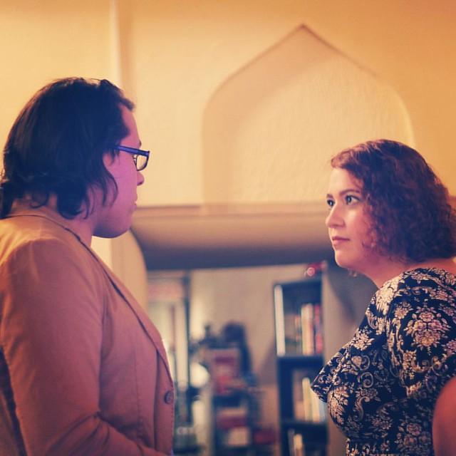 Разбираю фотографии с вечера. Здесь похоже, что у нас с @konstantin_rediger супружеская размолвка (в купеческом доме). На самом деле мы просто разговариваем.