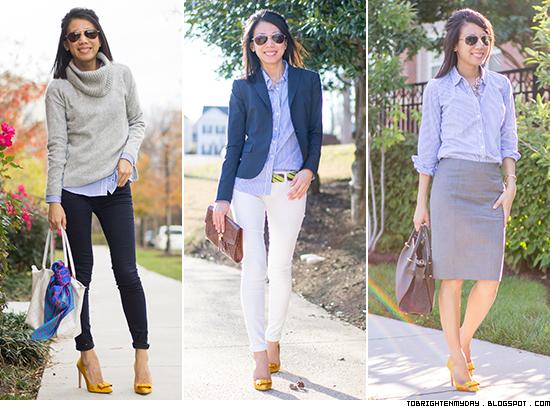 3 ways to wear: blue stripe shirt + mustard yellow bow pumps