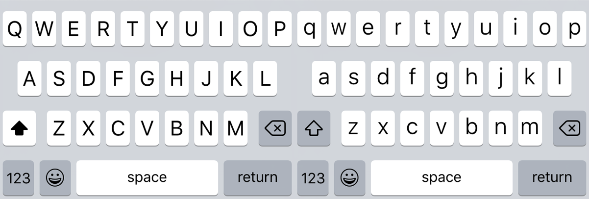 Uppercase and lowercase states of the iOS 9 keyboard