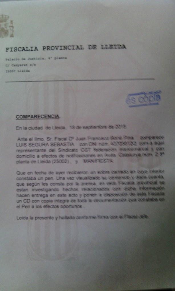 Imatge de la denúncia presentada a la fiscalia de Lleida sobre el cas de corrupció que implica al President de la Diputació de Lleida Joan Reñé