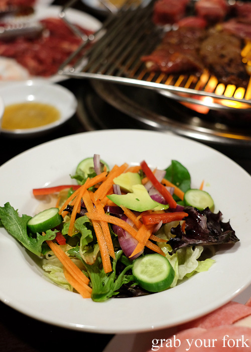 Complimentary garden salad at Jang Tur Charcoal BBQ Restaurant, Canterbury